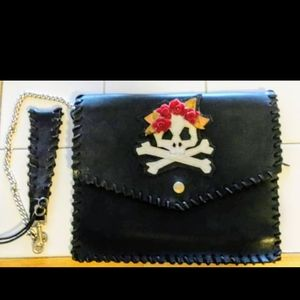 Vintage = Amy Chan New York Leather Wrist Clutch